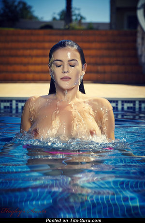 Exquisite Wet Brunette with Exquisite Bare Real Tittys in the Pool (Hd Porn Photo)