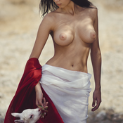 Topless brunette with big natural boobs pic