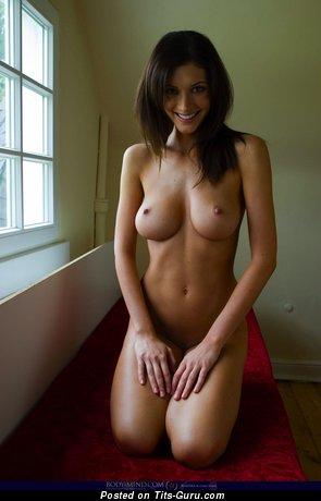 Klaudia - Handsome Brunette with Handsome Naked Real Average Breasts (Hd Porn Wallpaper)