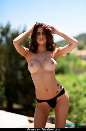 Image. Jennifer Ann - nude brunette with medium fake boob pic
