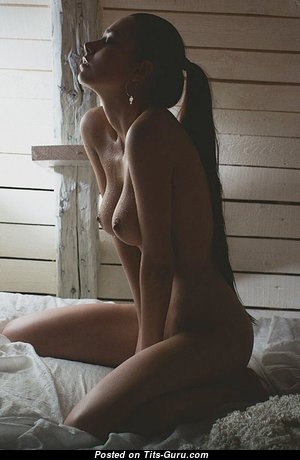 Helga Lovekaty & Alluring Topless Russian Brunette & Red Hair Babe with Alluring Bare Natural Big Tits & Weird Nipples (Hd Xxx Image)