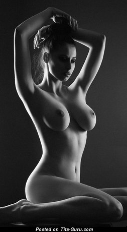 Sexy nude wonderful lady with medium natural tits image