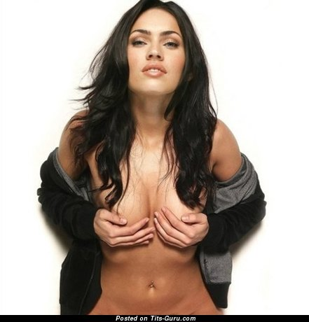 Megan Fox - wet topless brunette with medium fake boob, tattoo and big nipples image