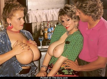 Image. Tits Out - sexy topless blonde with big natural breast vintage