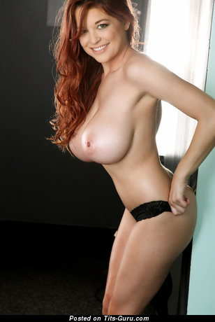Tessa Fowler - Sexy Topless American Red Hair Pornstar with Sexy Exposed Full Tits & Puffy Nipples (Sexual Photo)