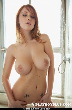 Leanna Decker - Cute American Playboy Red Hair with Cute Bare Natural Mid Size Tots, Piercing & Tattoo (Xxx Photoshoot)