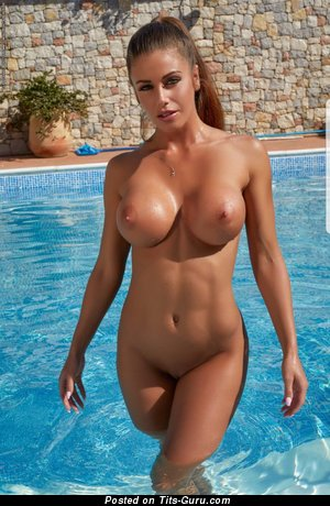 Wonderful Brunette Babe with Wonderful Exposed Fake Firm Tittes in the Pool (Hd Porn Foto)