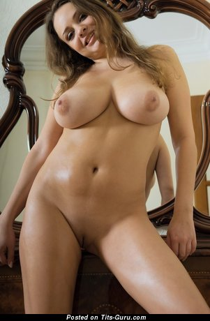Image. Naked blonde with huge natural tits and big nipples image