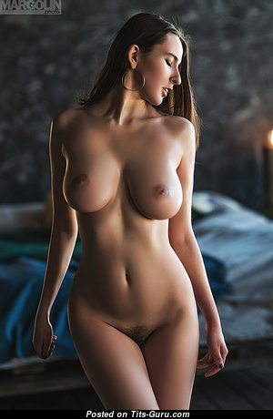 Lovely Naked Brunette Babe with Erect Nipples (Hd Sexual Foto)