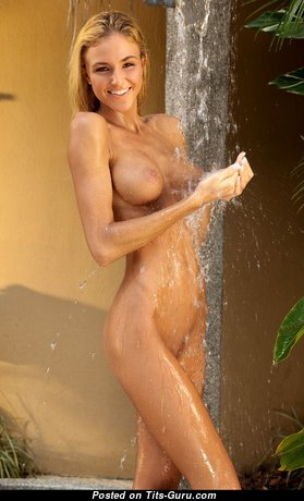 Charming Topless & Wet College Blonde Babe with Sexy Legs in the Shower (Hd 18+ Photo)