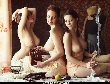 Sexy naked beautiful female with medium natural boob photo