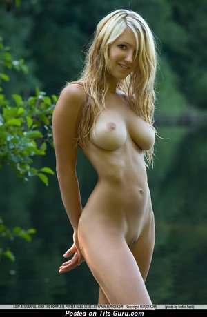 Corinna - Superb Blonde with Superb Exposed Real Soft Boob & Long Nipples (Sexual Picture)
