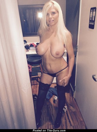 Claudette Monroe - Dazzling Blonde Babe with Dazzling Naked Average Titties in High Heels & Stockings (Sex Image)