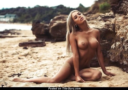 Lucie Jaid McConnell - Graceful Blonde Babe with Graceful Bald Medium Sized Boobies on the Beach (Porn Pic)