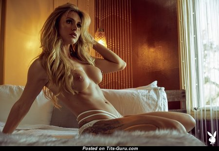 Ella Silver - Beautiful Topless Playboy Blonde Actress, Babe & Pornstar with Beautiful Open Fake Med Breasts, Puffy Nipples, Tattoo in Lingerie & Panties is Undressing (Xxx Pix)
