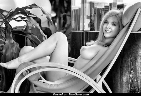 Pleasing Topless Playboy Blonde with Pleasing Defenseless Natural Mid Size Titties (Vintage Hd Sexual Picture)