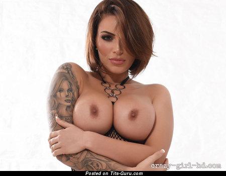 Gemma Massey - Graceful British Playboy Brunette Babe with Graceful Open Normal Jugs, Red Nipples, Tattoo (18+ Wallpaper)