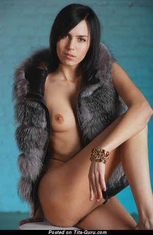 Image. Nude brunette with small natural tots pic