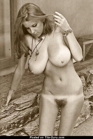 Naked amazing female with huge natural boobs vintage