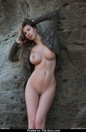 Conny Carter - sexy topless brunette with medium breast pic