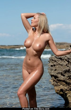 Janine - Delightful Glamour, Topless & Wet Blonde with Delightful Open Dd Size Tits & Huge Nipples on the Beach (Sex Picture)