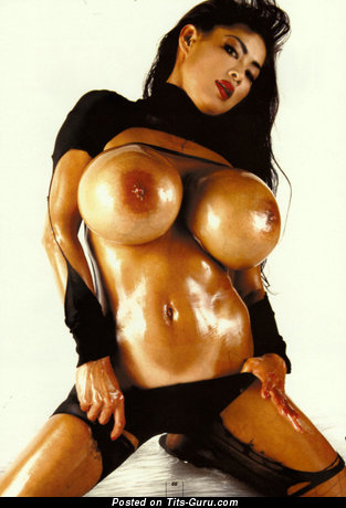 Fascinating Asian Brunette Babe with Fascinating Bare Silicone Giant Balloons & Giant Nipples (Xxx Wallpaper)