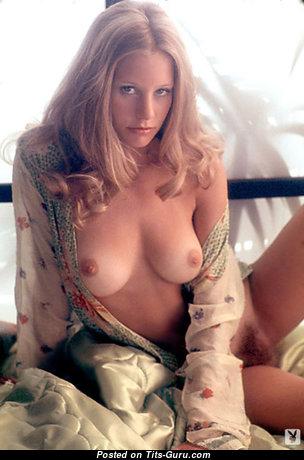Jill De Vries: топлесс блондинка Playboy (США) с умопомрачительными оголёнными натуральными цицьками,огромными ореолами,с загаром (старая hd ню картинка)