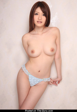 Sexy naked asian red hair with medium natural breast pic