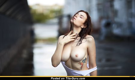 Pretty Wet & Topless Female with Pretty Bald Real Mid Size Boobs (Hd Sexual Pix)