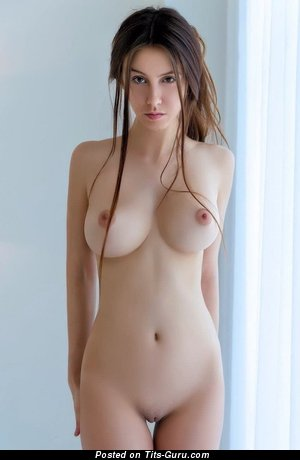 Sexy nude brunette with medium natural boobies photo