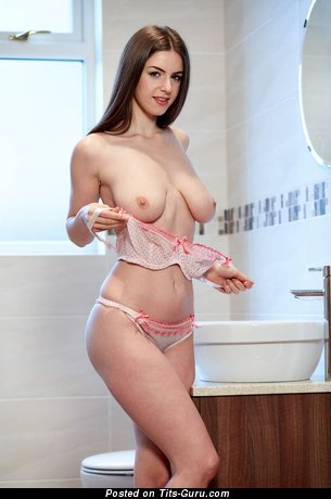 Splendid Topless Brunette with Splendid Bald Real Average Boob in Lingerie is Undressing (Hd Sexual Photoshoot)