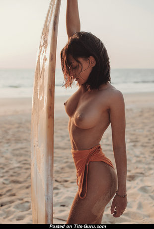 Pleasing Glamour & Topless Brunette with Pleasing Open Med Boobs on the Beach (Hd 18+ Pic)