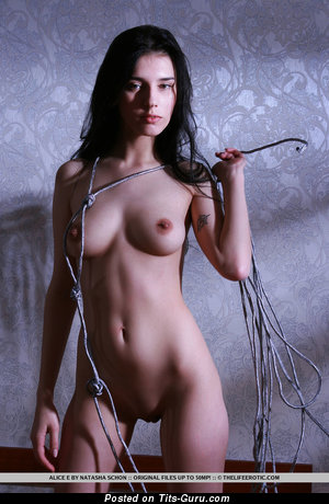 Alice E - Handsome Brunette with Hot Bare Natural C Size Busts (Home Xxx Image)