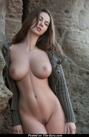Connie Carter - sexy topless brunette with big natural tittys and piercing pic