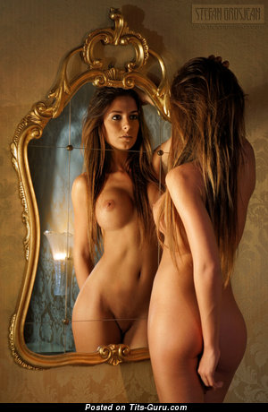 Image. Nude nice female with big fake boob picture