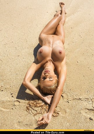 Image. Naked hot woman with big fake boob picture