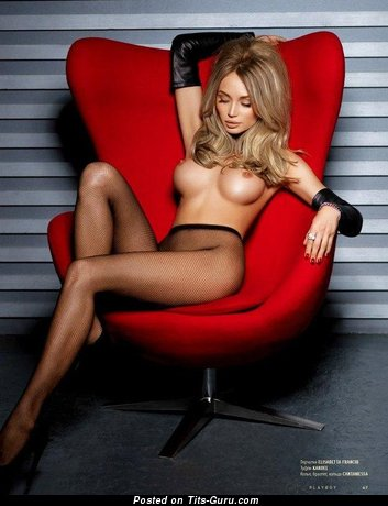 Yuliana Sergeeva - Lovely Blonde with Lovely Defenseless Fake Medium Sized Chest in Stockings (Sexual Picture)