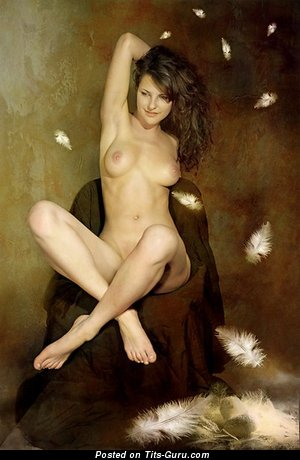 Nude nice lady with medium natural boobs pic