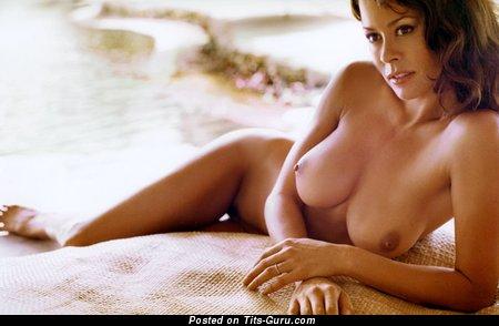 Brooke Burke - wet naked amazing girl with medium tots image