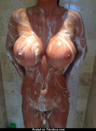 The Best Woman with The Best Defenseless Fake Boobies & Red Nipples in the Shower (Hd Sexual Picture)