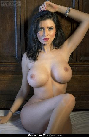 Grand Brunette with Grand Naked Fake Sizable Busts (Hd Xxx Pic)