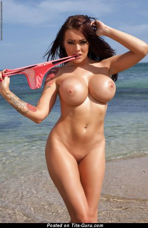 Charley Atwell - nude brunette with big fake breast and tattoo image