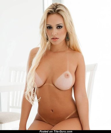 Handsome Topless Blonde Babe with Dazzling Naked Natural Medium Busts & Tan Lines (Sex Picture)
