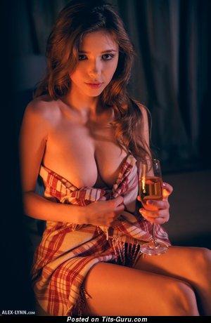 Image. Mila Azul - topless brunette with medium natural boobies photo