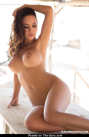 Adrienn Levai - sexy naked brunette with medium fake boobs picture