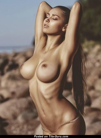 Magnificent Babe with Magnificent Open Fake Titties (Sexual Pic)