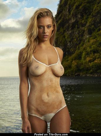 Hannah Ferguson - Appealing Wet & Glamour American Blonde with Appealing Nude Natural Jugs, Big Nipples, Tan Lines (Sexual Image)