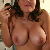 Brunette with big natural breast photo