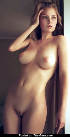 Sexy topless hot girl with medium natural tittys photo