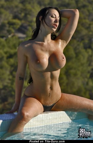 Perfect Wet Female with Perfect Defenseless Fake Mega Titty in the Pool (Sexual Image)